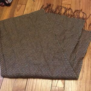 Brown multi color print scarf